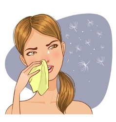 Sneezing in handkerchief woman because of allergy vector
