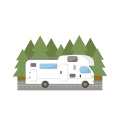 Travel trailer truck car vector