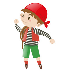 Young pirate holding rope vector
