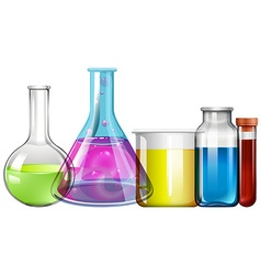 Glass beakers with colorful liquid vector