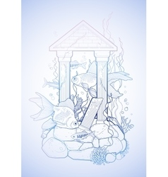 Graphic aquarium fish with architectural sculpture vector