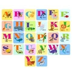 Kids full alphabeth with cartoon animals vector image