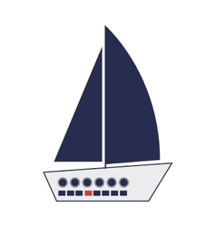 Nautical sailboat icon vector