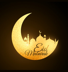 Golden eid festival moon with mosque vector