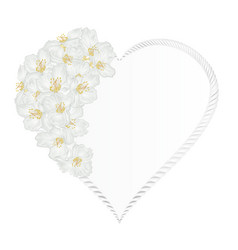 floral frame heart with jasmine vintage vector image