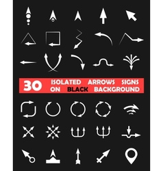 Isolated arrows signs on black background vector