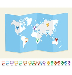 World map gps location pins travel concept eps10 vector