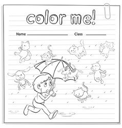 A worksheet showing a rain with cats and dogs vector