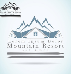 Mountain resort raster logo design template vector