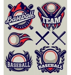 Set sports template with ball and bats for vector