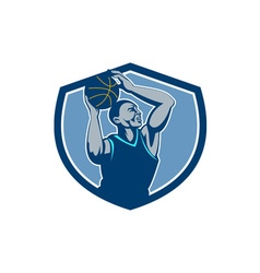 Basketball player rebounding ball crest retro vector
