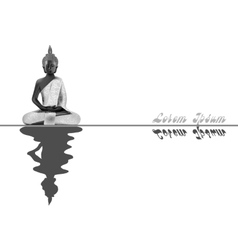 Meditating Buddha posture in silver vector image