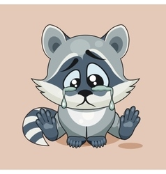 Sad raccoon cub crying vector