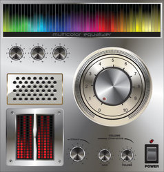 Volume knob with digital colorful equalizer vector