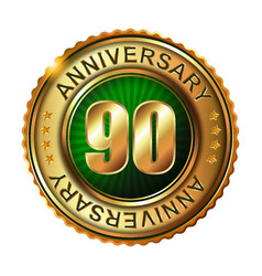 90 years anniversary golden label vector image