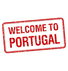 Welcome to portugal red grunge square stamp vector