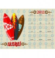 aloha calendar vector image vector image