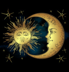 antique style golden sun crescent moon and stars vector image vector image