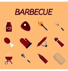 Barbecue flat icon set vector image