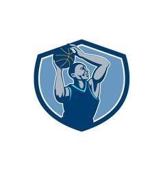 Basketball Player Rebounding Ball Crest Retro vector image vector image