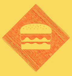 Burger simple sign red scribble icon vector