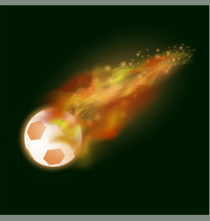 burning sport football icon with sparcles vector image vector image