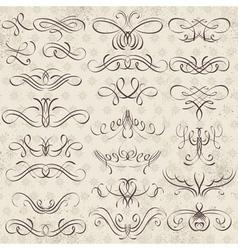 Calligraphy decorative borders ornamental rules di vector