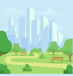 cartoon public city park with skyscrapers vector image
