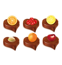 Chocolate heart candy with orangecherry apricot vector