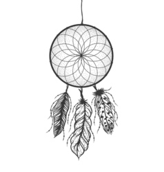 Dreamcatcher with detailed feathers boho style vector