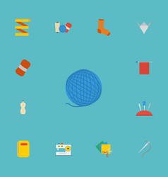 flat icons wool scissors shop and other vector image vector image