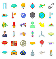 Flying transport icons set cartoon style vector