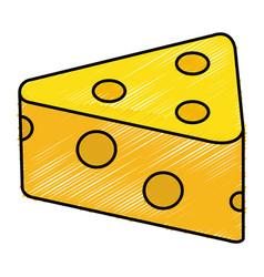 Fresh cheese piece icon vector