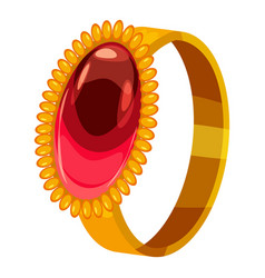 Gold ring with ruby icon cartoon style vector
