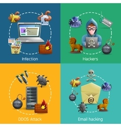 Hacker Cyber Attack Icons Concept vector image