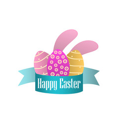 happy easter ribbon easter eggs and rabbit ears vector image vector image