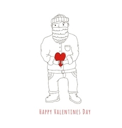 Happy valentines day man with beard in love vector