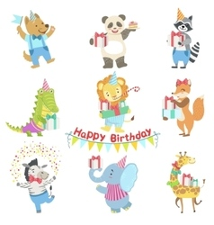 Humanized animal characters attending birthday vector