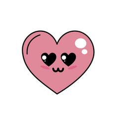 Kawaii cute heart in love vector