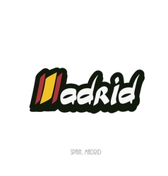Madrid hand lettering text vector image vector image