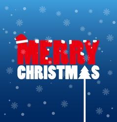 Merry christmas text wear santa hat vector