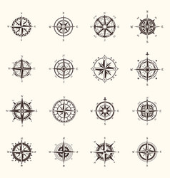 Old compass or ocean sea navigation wind rose vector