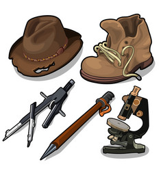 old hat shoes microscope and other equipment vector image