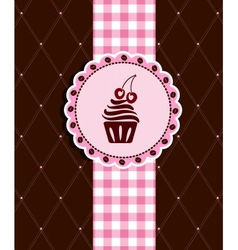 Postcard with cupcake vector image