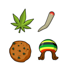 Rasta icons set green leaf of marijuana and vector