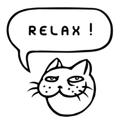 Relax cartoon cat head speech bubble vector