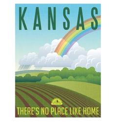 Retro travel poster for state of kansas vector