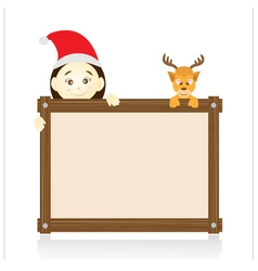 Santa claus and reindeer holding wood board on vector