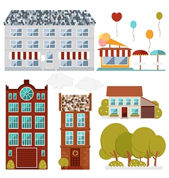 Set of flat buildings cafe house restaurant vector
