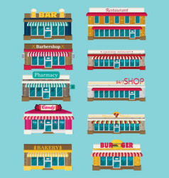 Set of flat design restaurants and shops facade vector
